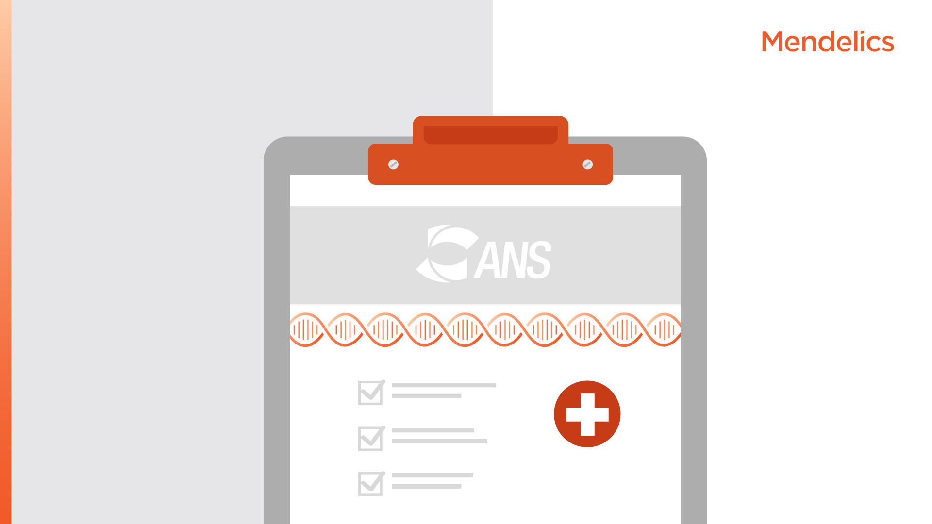 Imagem de uma prancheta médica com o logo da ANS