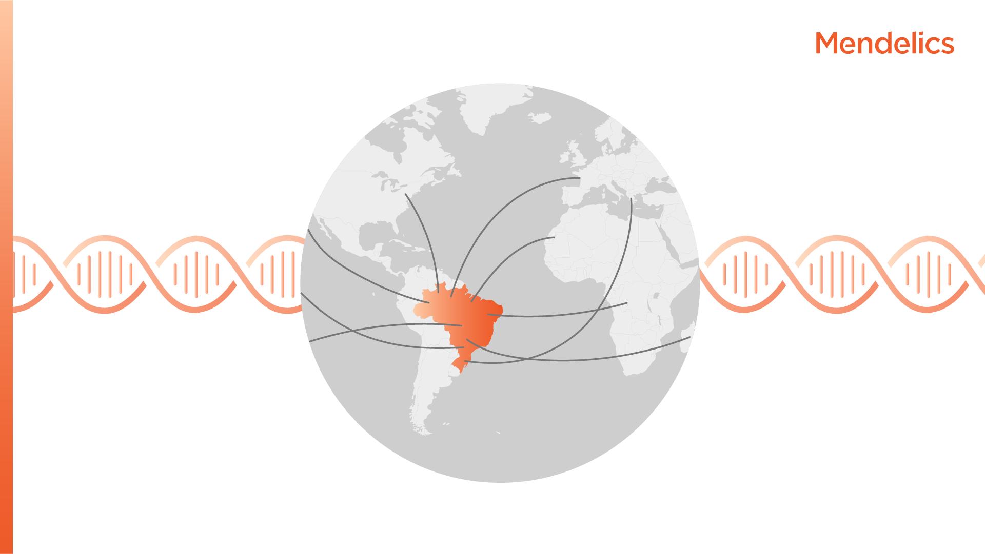 Imagem do globo terrestre com destaque para o brasil e linhas indicando os movimentos migratórios para o Brasil