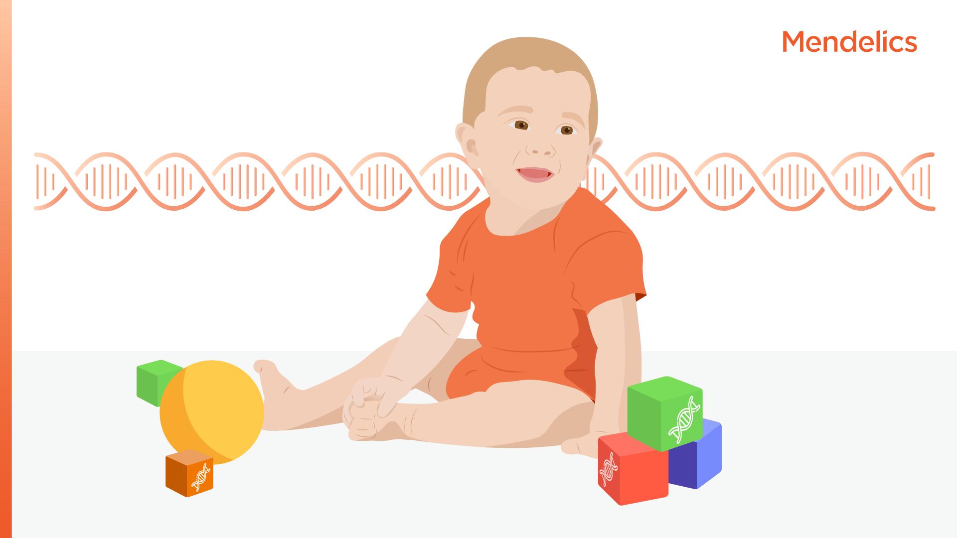 imagem de um bebê com brinquedos e uma molécula de dna ao fundo