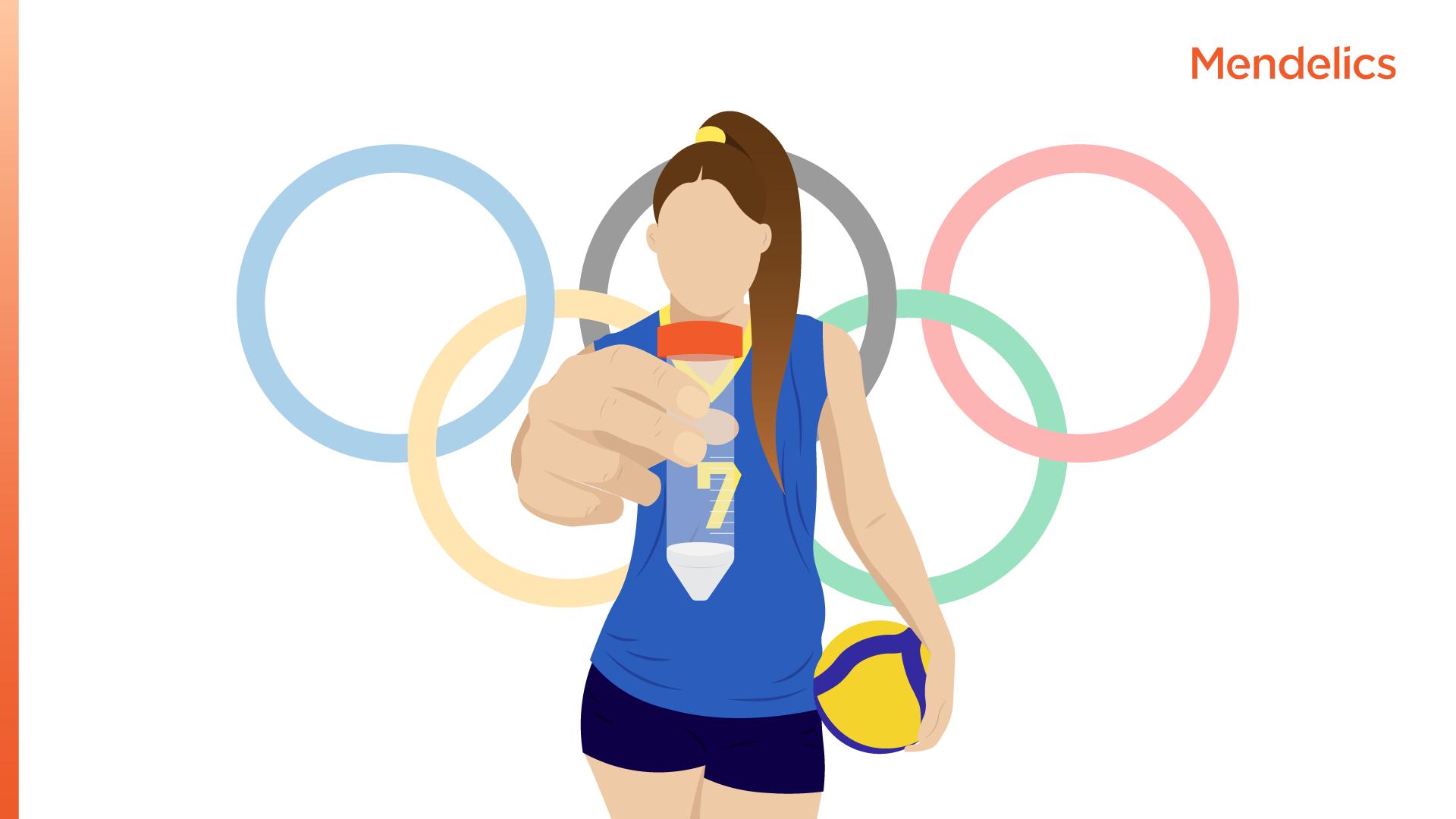 Imagem de uma atleta olímpica de vôlei segurando um tubo de coleta para testagem de covid-19