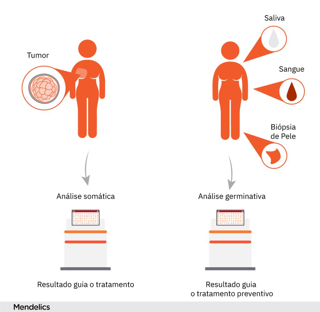 exames genéticos para câncer somático e hereditário